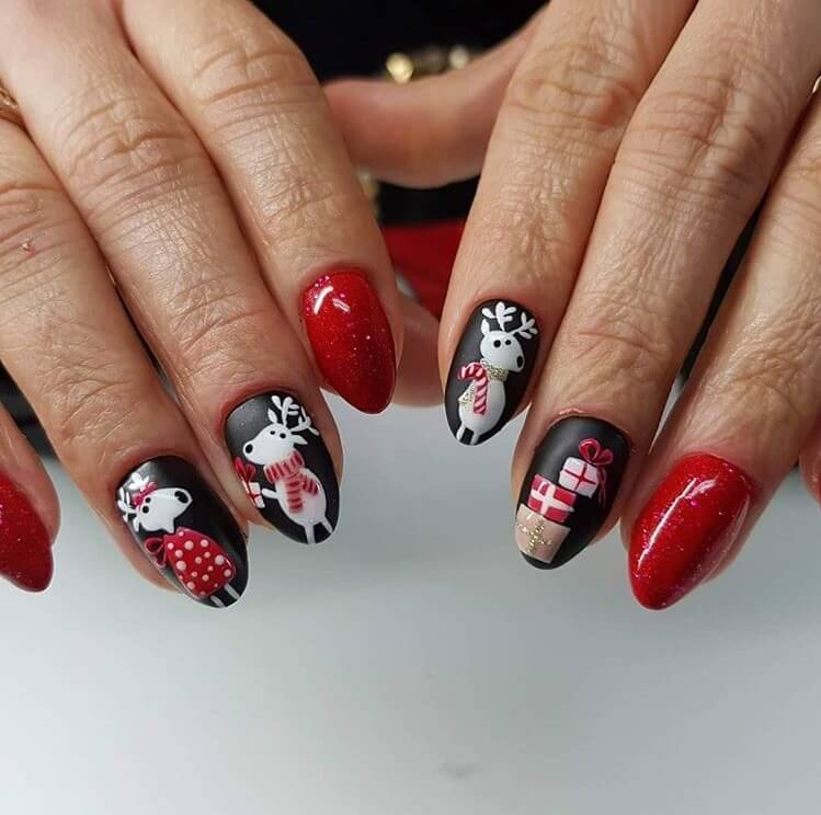 snow nails christmas winter manicure red