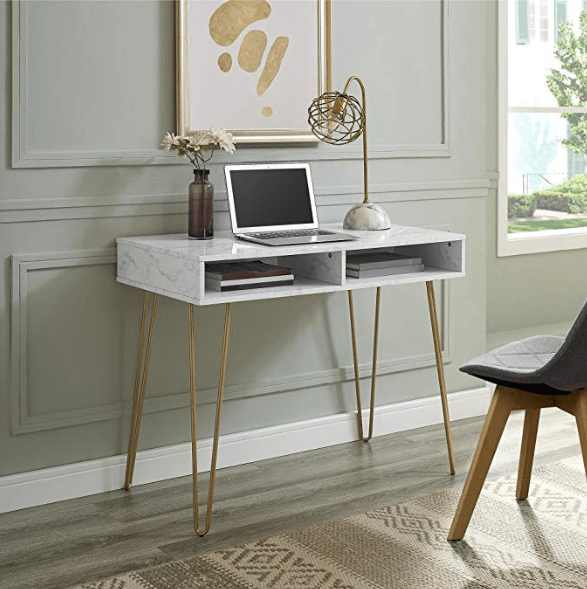 desk marble white gold legs