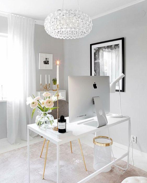 grey bedroom white office computer desk