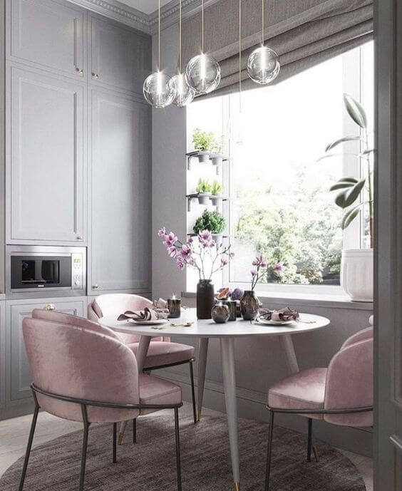 pink chair kitchen