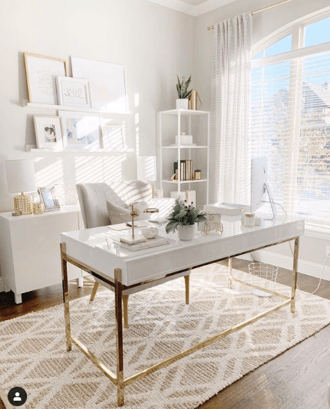 white desk interior design minimalistic scandi