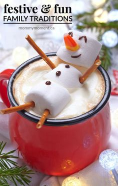 Hot chocolate marshmellow snowman