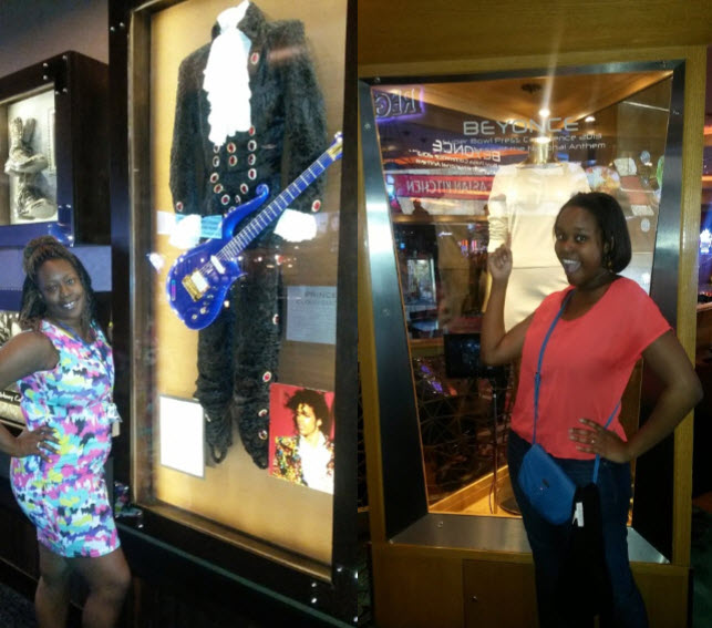 Us taking pictures with Beyonce and Prince ('s clothes)