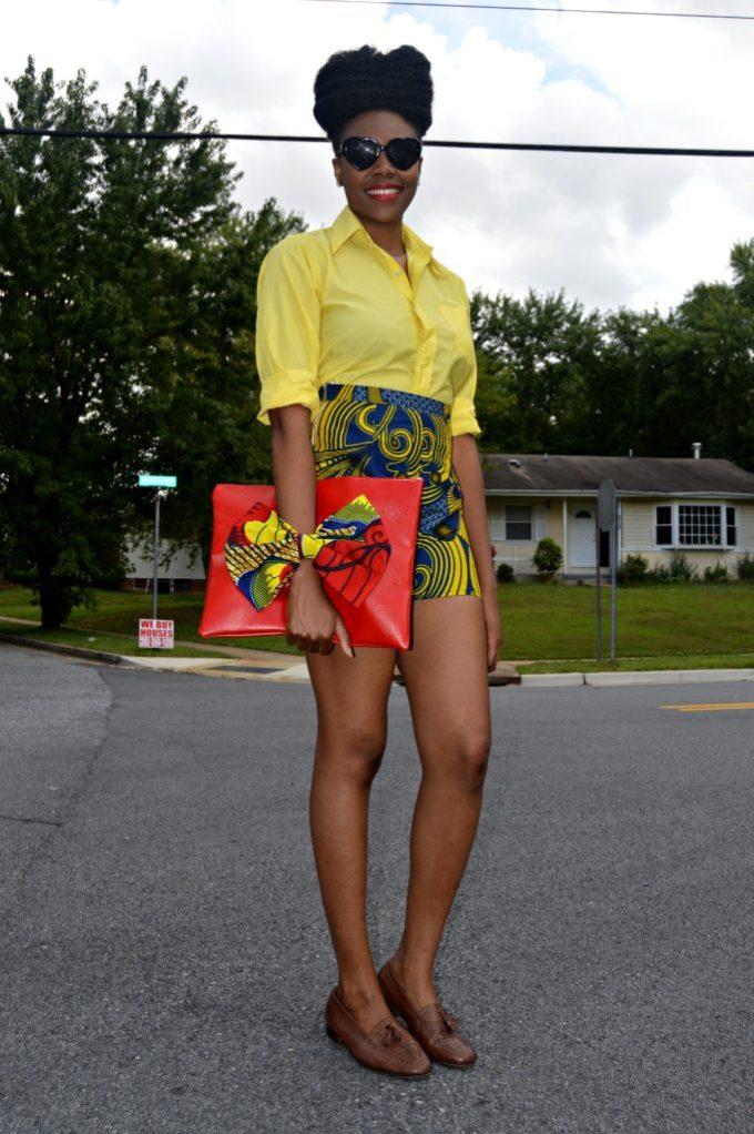 Nikki Billie Jean's Blue Ankara Print Shorts and Red Bowtie Bag for The Naturalista Hair Show 2014 4
