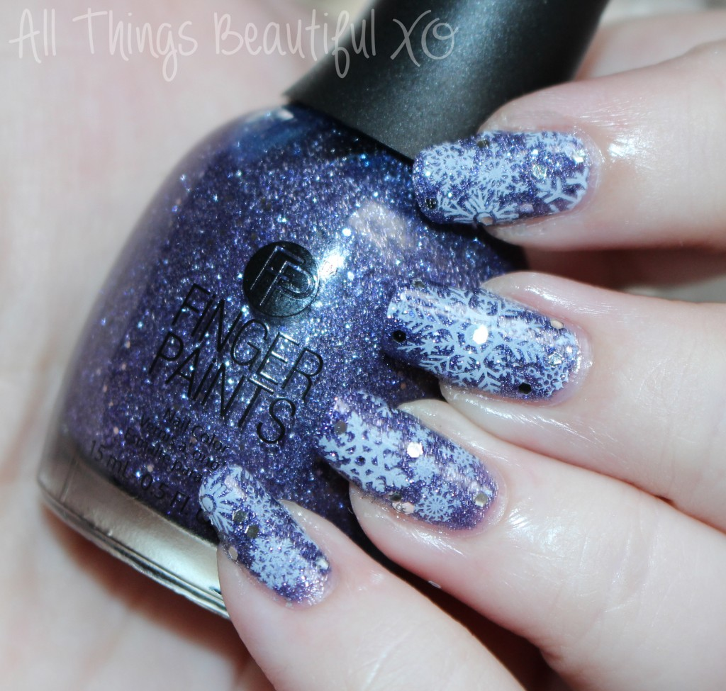 Winter Snowflakes Nail Art with Finger Paints Gogh with the Flow from All Things Beautiful XO