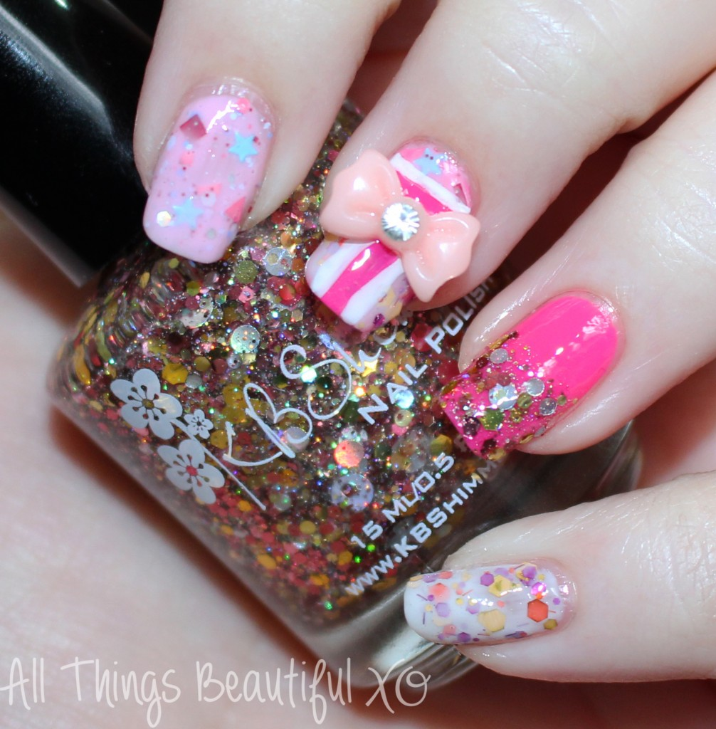 Easy Valentine\'s Day Nail Art Wrapped with a Bow featuring KBShimmer ...