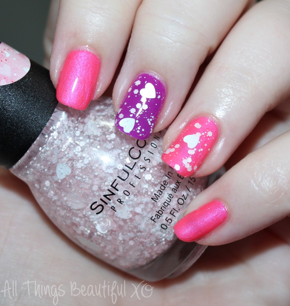 Sinful Colors Valentine's Day Nail Art Manicure with Hearts! Using Sinful Colors Love Sprinkles, Daredevil, & Dream On Swatches & Review from All Things Beautiful XO