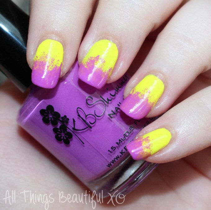 Neon sponged nail art with purple & yellow! KBShimmer Rum Me the Right Way & Sarong Place, Sarong Time on All Things Beautiful XO   www.allthingsbeautifulxo.com