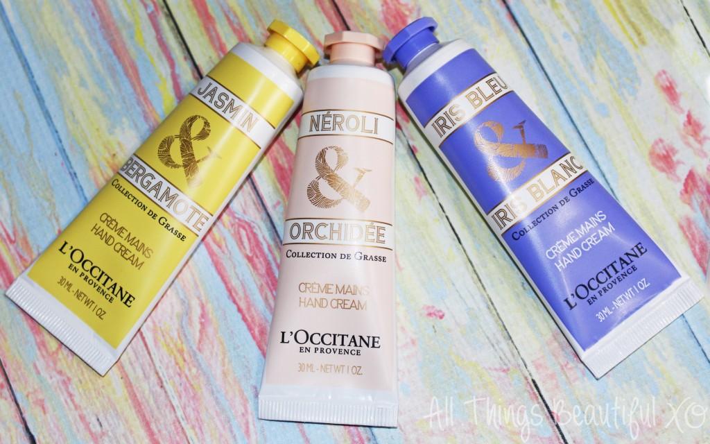 L'Occitane Spring Hand Creams in Jasmin Bergamote, Neroli Orchidee, & Iris Bleu in the L'Occitane La Collection de Grasse Hand Creams Set Review on All Things Beautiful XO | www.allthingsbeautifulxo.com