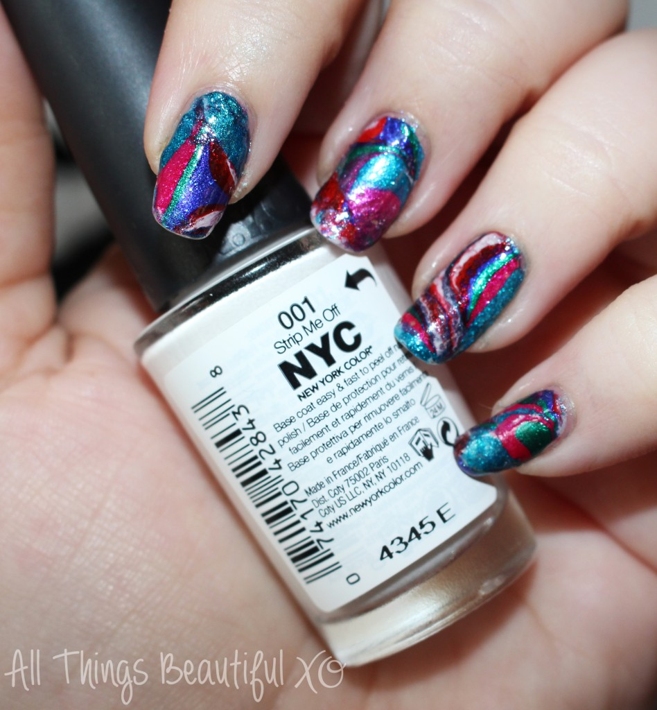 Review & demo of the NYC Strip Me Off Peel Off Basecoat- perfect for nail art & manicures that you want to remove effortlessly! on All Things Beautiful XO | www.allthingsbeautifulxo.com