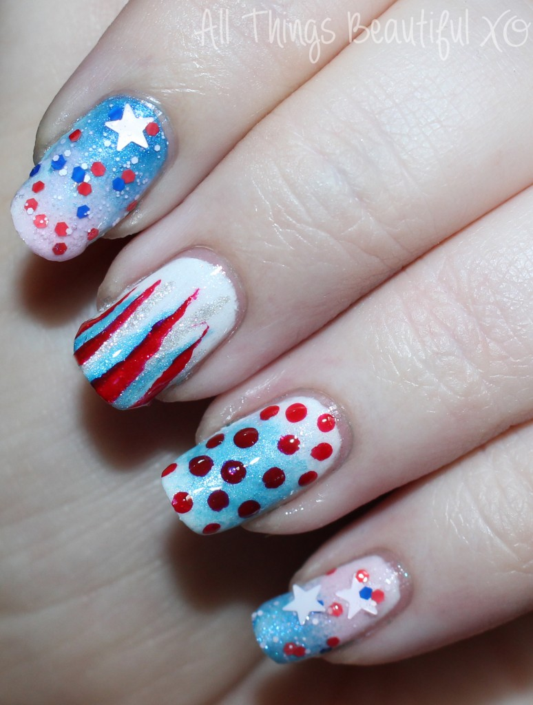 4th Of July USA Nail Art With Stars, Glitter, & Ombre With