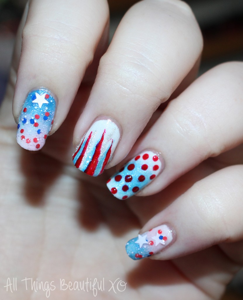Sinful Colors 4th of July Red, White, & Blue Nail Art on my 4th of July USA Nail Art with Stars, Glitter, & Ombre with Sinful Colors on All Things Beautiful XO | www.allthingsbeautifulxo.com