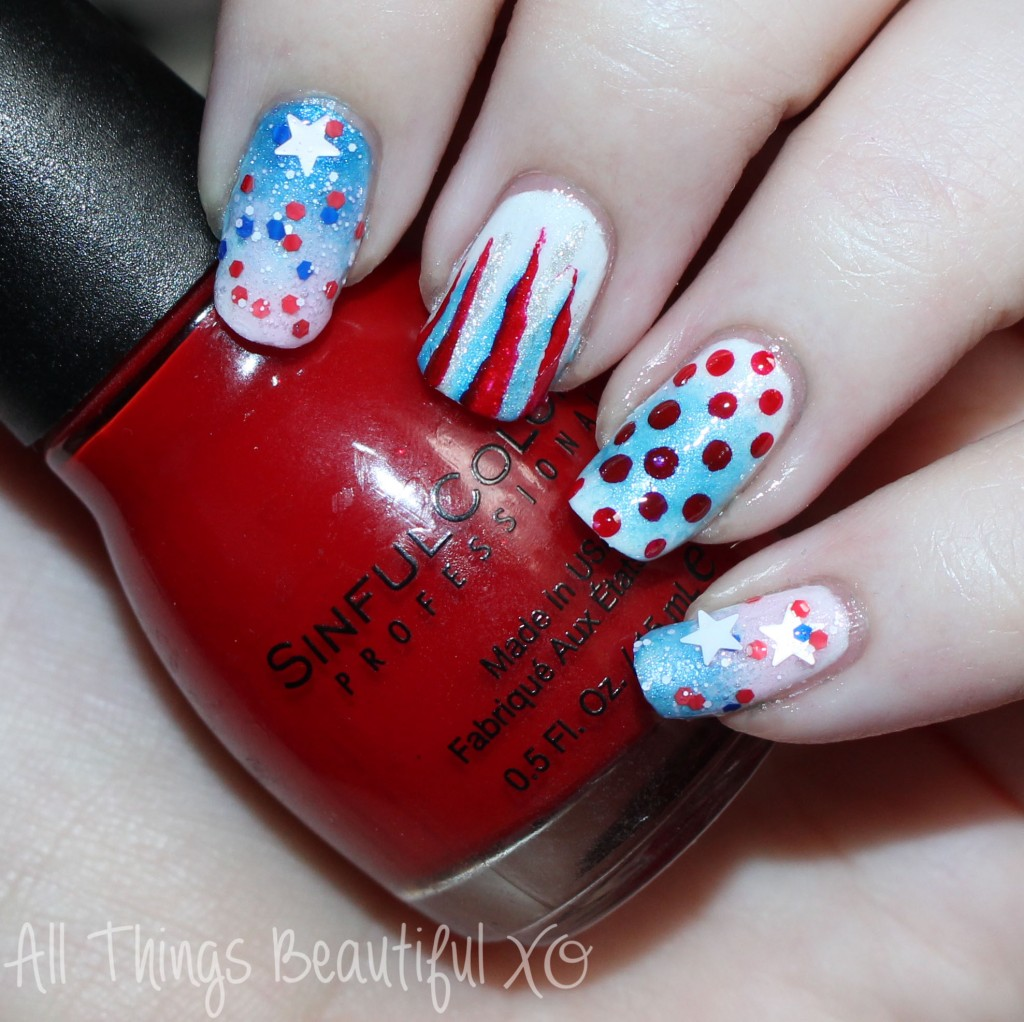 Sinful Colors Ruby Ruby Red Swatch  on my 4th of July USA Nail Art with Stars, Glitter, & Ombre with Sinful Colors on All Things Beautiful XO   www.allthingsbeautifulxo.com
