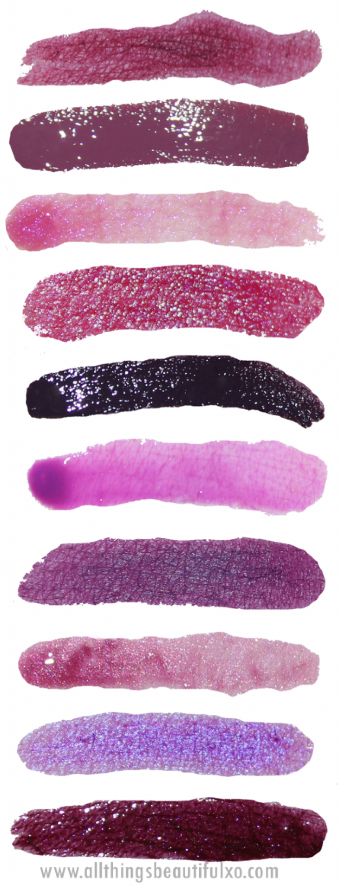 Swatches & review of 10 Gorgeous Purple Lippies - Matte, Gloss, Lipsticks, & more including Makeup Revolution, Too Faced, Buxum, NYX, Milani, Bare Minerals, Kat Von D, Urban Decay, & L'Oreal! on All Things Beautiful XO | www.allthingsbeautifulxo.com