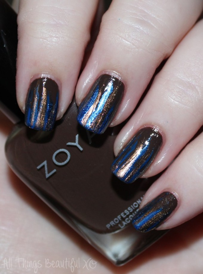 Nail art using Zoya Sia, Desiree, Cinnamon, & Estelle to create Autumn Feathered Stripes Manicure in Blue & Brown on All Things Beautiful XO | www.allthingsbeautifulxo.com