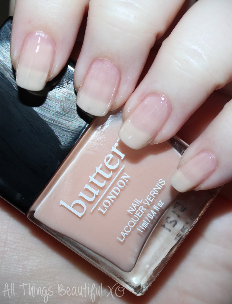 Butter London Nail Polish Swatch in Nude Stilettos  Swatches & review of the Butter London & Allure Arm Candy Collection for Fall 2015 including the shades Nude Stilettos, Statement Piece, It's Vintage, Lust or Must?, I'm on the List, & Disco Nap! on All Things Beautiful XO | www.allthingsbeautifulxo.com