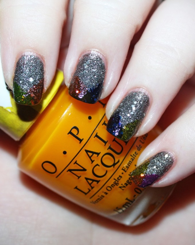 Super Easy Rainbow Tips Nail Art with OPI Color Paints in Landscape Artist, Pen & Pink, Primarily Yellow, Indigo Motif, Chromatic Orange + Butter London Manicure on All Things Beautiful XO