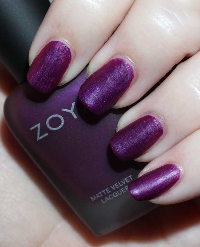 Swatches & review of the Zoya Matte Velvet Holiday Collection for Winter including the shades Amal, Aspen, Honor, Iris, Sue, & Yves on All Things Beautiful XO
