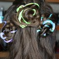 Love romantic, messy hair? Check out my review of the NuMe 32mm wand & my hair tutorial for this spring braided sequin ribbon rosette hairstyle! Perfect hair idea for kids too! Pretty & soft- & super easy to recreate! Check out more hair, makeup, & nail art posts on All Things Beautiful XO