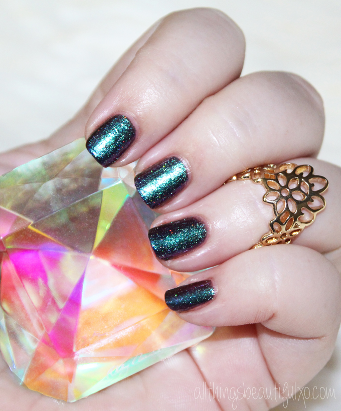 Swatches & review of Hookah-Smoking Caterpillar from Girly Bits- a gorgeous multichrome with added gold holographic micro-glitter on All Things Beautiful XO