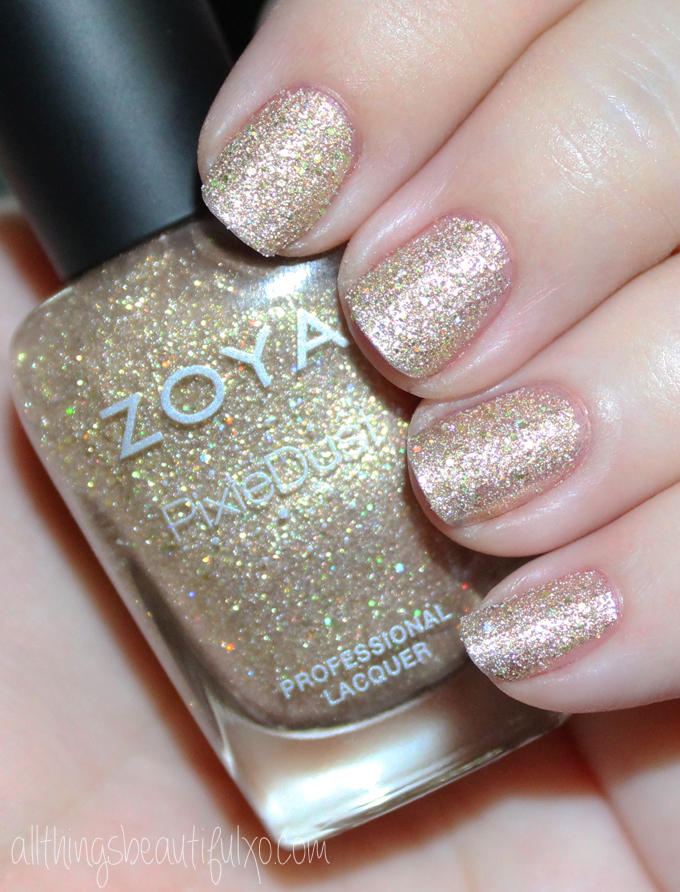This is Zoya Levi  Swatches & Review of the Zoya Pixie Dust Seashells Collection including Levi, Bay, Cece, Linds, Zooey, & Tilly on All Things Beautiful XO