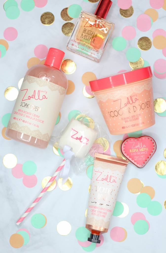Zoella Beauty- the prettiest, girly products around from Zoe Sugg! A look into my favorites including the Blissful Mistful, Solid Fragrance, Soak Opera, Wonder Hand, & Scooper Dooper on All Things Beautiful XO