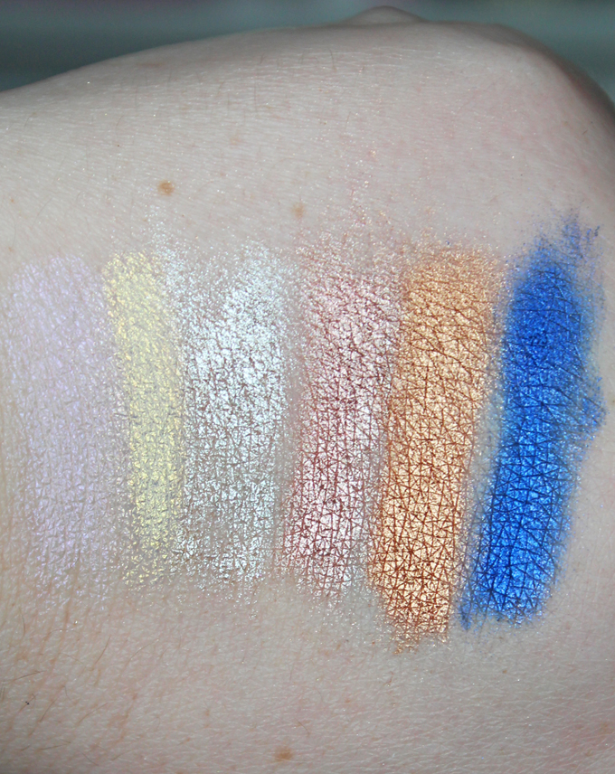 Swatches & review of the Make Up For Ever Star Lit Powder Pigments in the shades #2 Frozen Gold, #5 Frozen Purple, #12 Copper, #13 Ivory, #15 Golden Pink, & #19 Ultramarine. See more beauty, makeup, & nail posts on All Things Beautiful XO