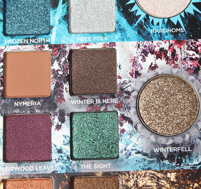 Urban Decay Game of Thrones Eyeshadow Palette Swatches & Review on All Things Beautiful XO House of Stark section in the urban Decay x Game of Thrones Eyeshadow Palette includes the shades: Nymeria, Winter is Here, Weirwood Leaves, The Sight, & transformer shade in Winterfell.