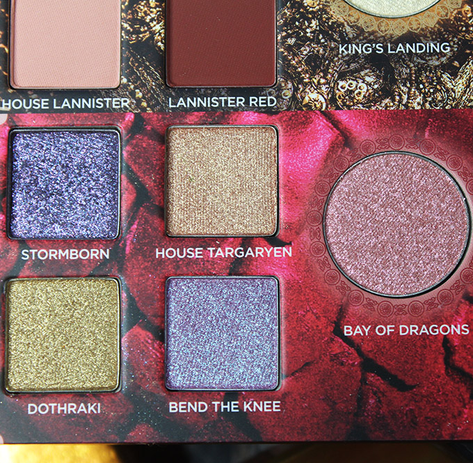 Urban Decay Game of Thrones Eyeshadow Palette Swatches & Review on All Things Beautiful XO House of Targaryen section in the urban Decay x Game of Thrones Eyeshadow Palette includes the shades: Stormborn, House of Targaryen, Dothraki, Bend the Knee, & transformer shade in Bay of Dragons.