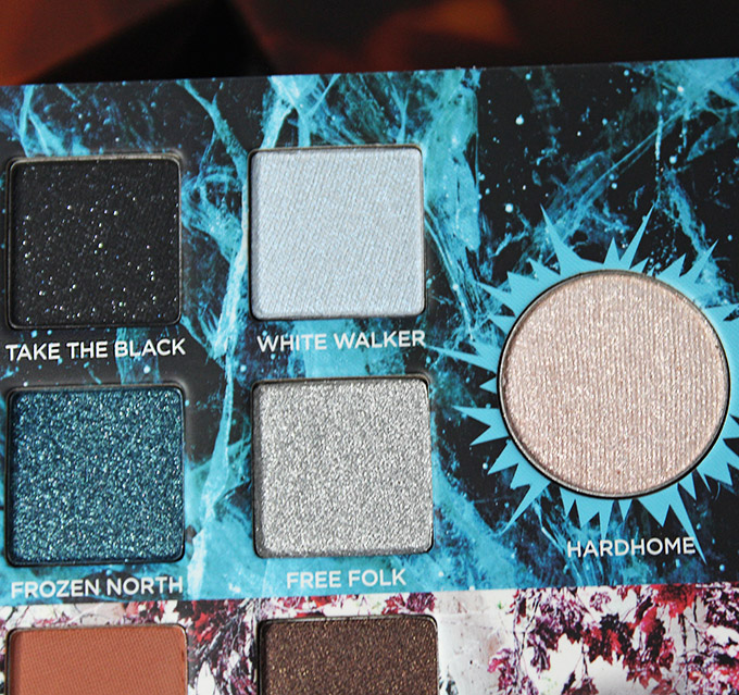 Urban Decay Game of Thrones Eyeshadow Palette Swatches & Review on All Things Beautiful XO White Walkerssection in the urban Decay x Game of Thrones Eyeshadow Palette includes the shades: Take the Black, White Walker, Frozen North, Free Folk, & transformer shade in Hardhome.
