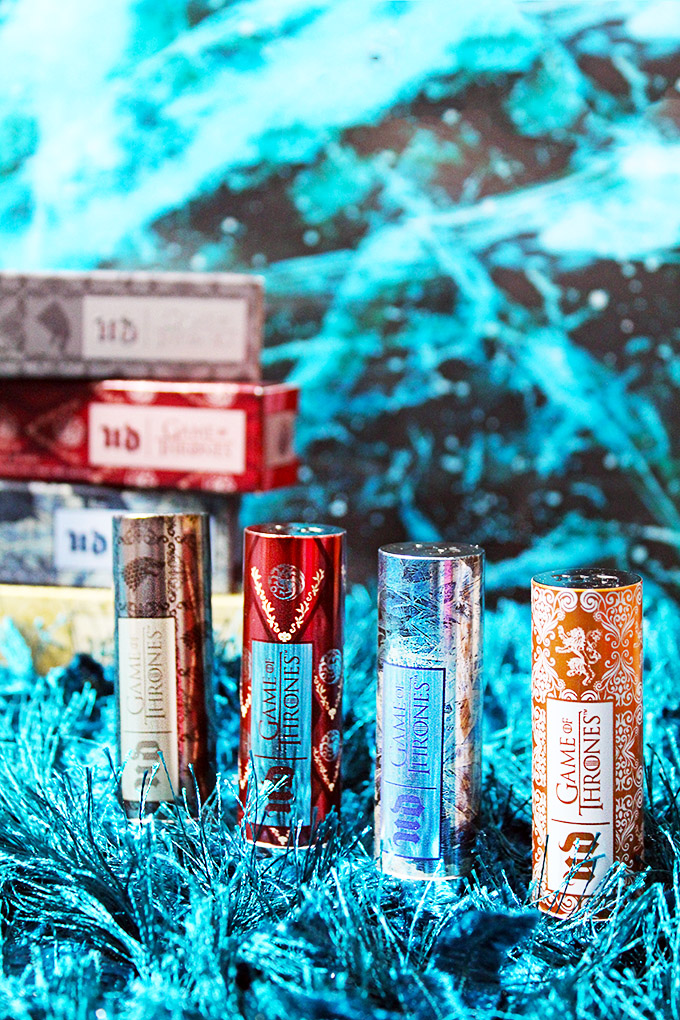 Urban Decay X Game of Thrones Vice Lipsticks in Sansa Stark, Daenery's Targaryen, White Walker, & Swatches & Cersei Lannister Swatches & Review
