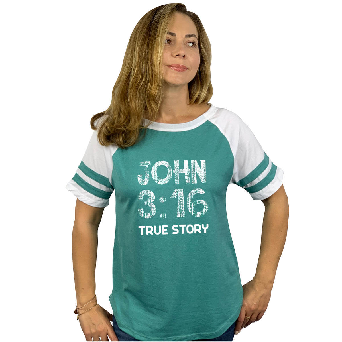John 3 16 True Story Women S Short Sleeve Baseball Jersey