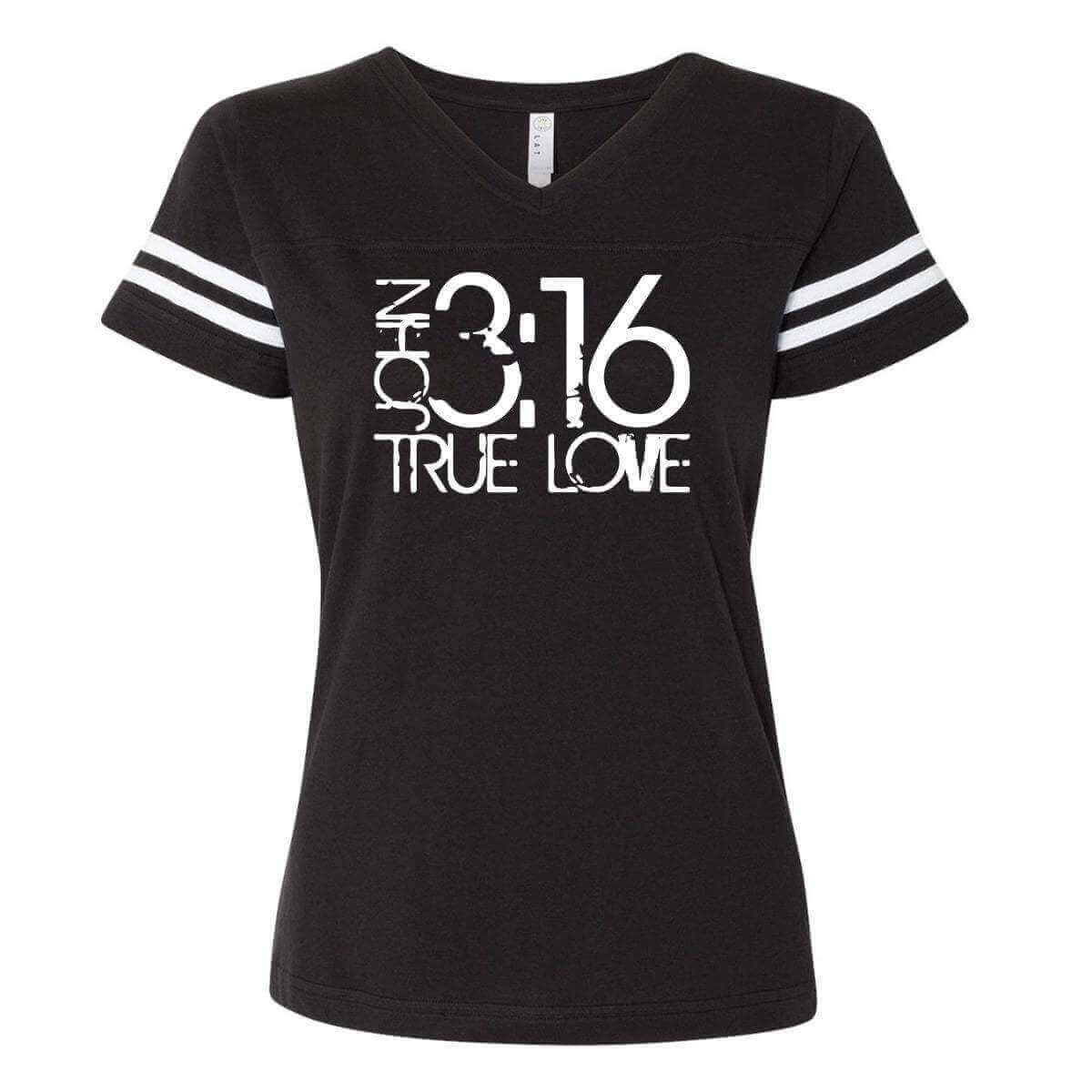 John 3 16 True Love Christian Football V Neck Fine Jersey