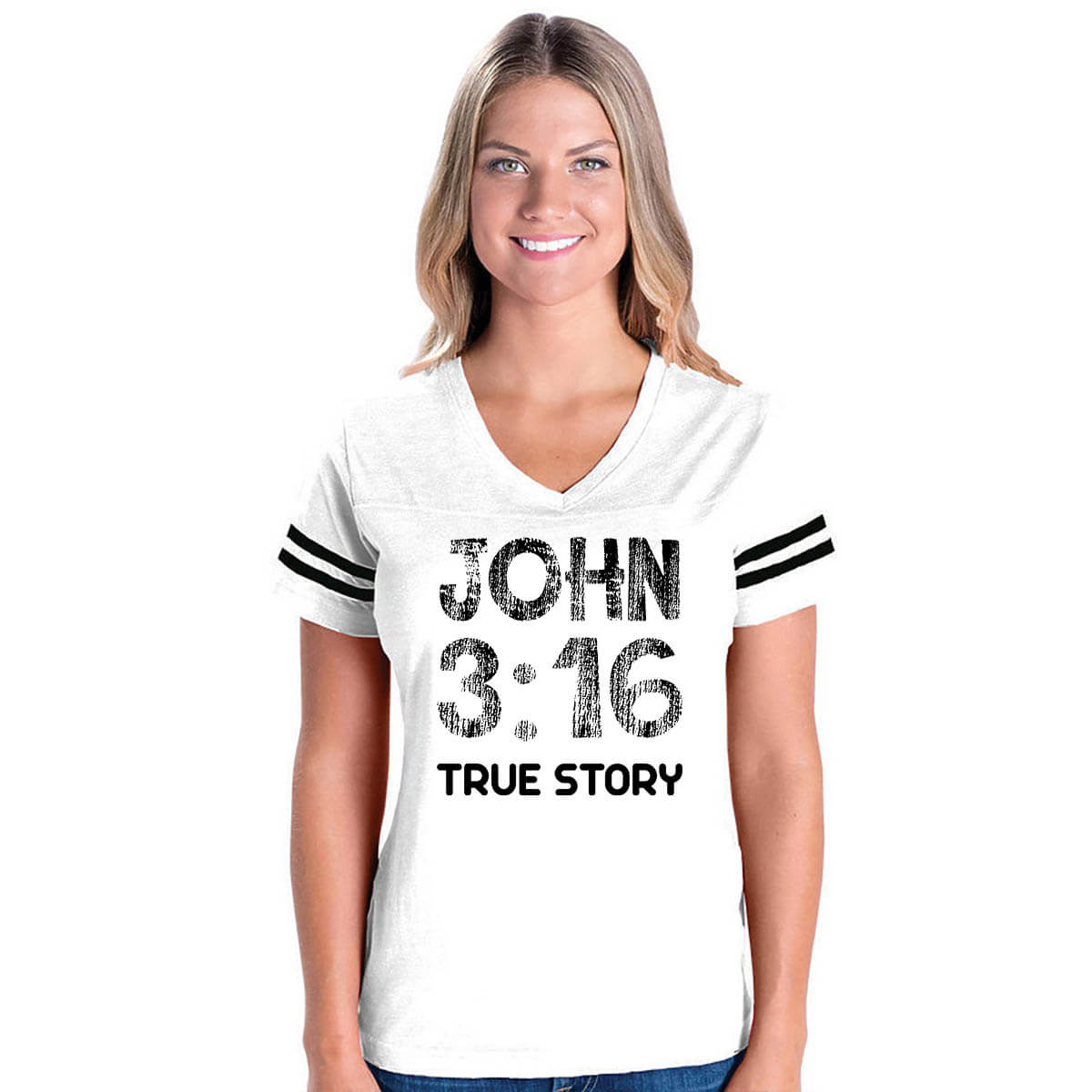 John 3 16 True Story V Neck Football Jersey T Shirt