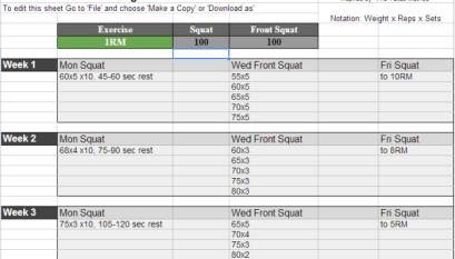 Smolov Squat Routine Spreadsheet (Includes Smolov Jr