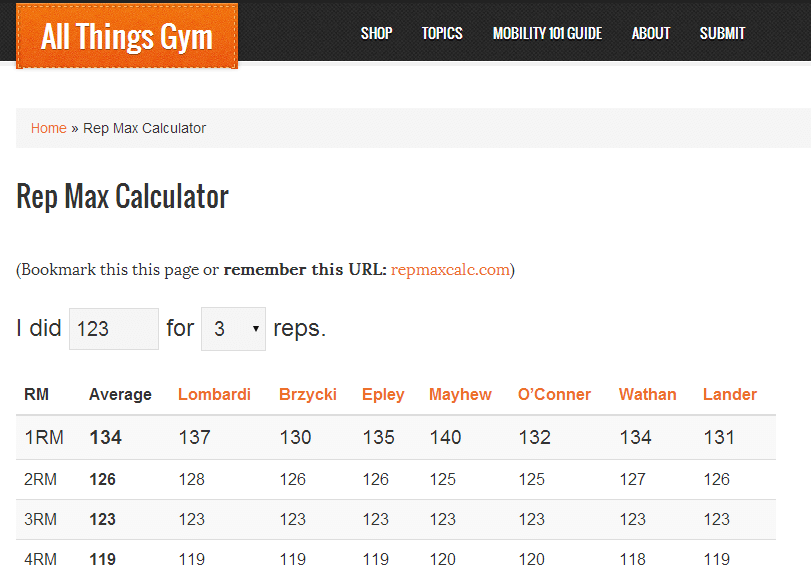 Calculate One Rep Max Bench