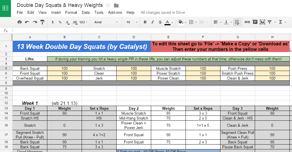 13 week double day squats weightlifting program