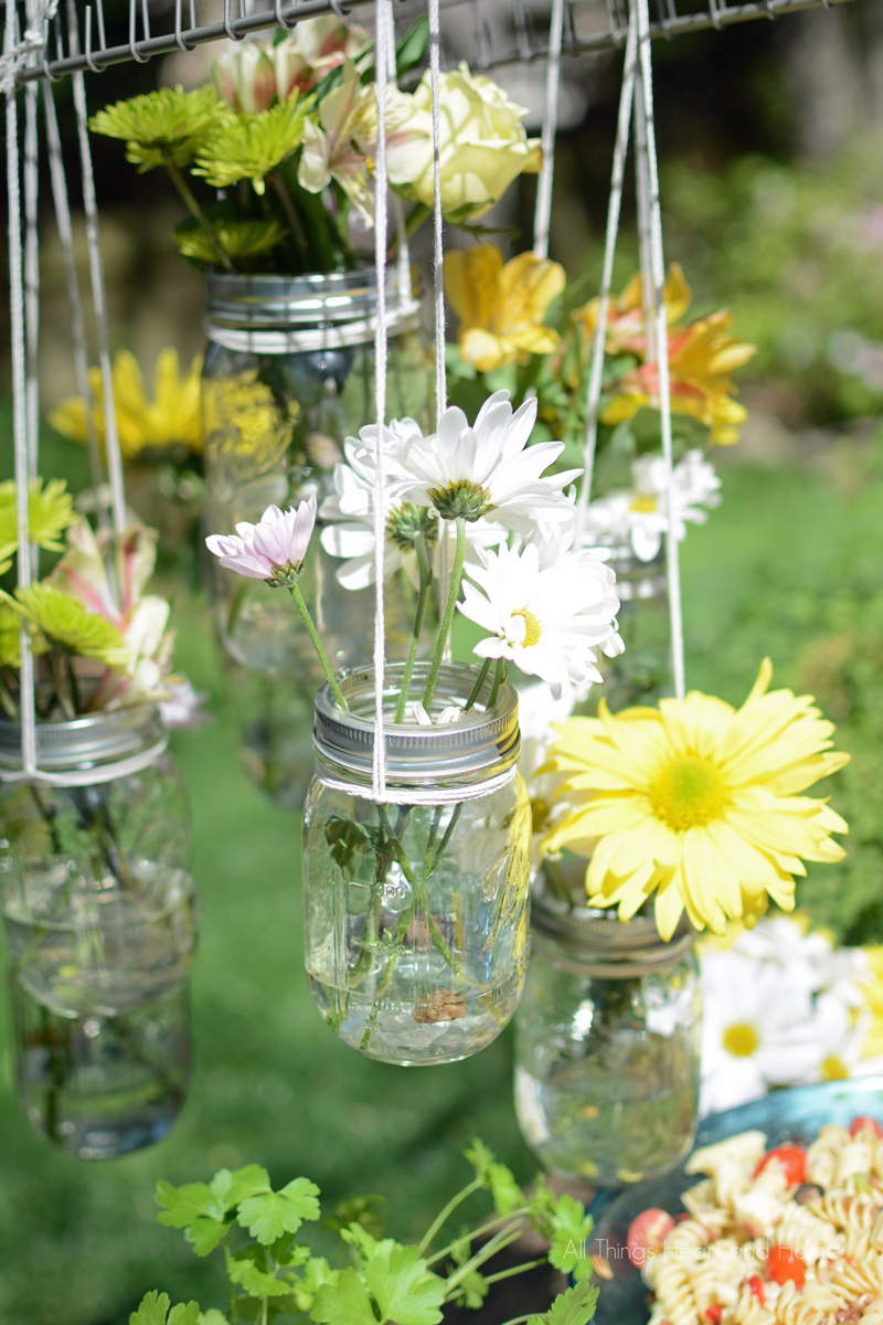 Hanging Mason Jar Flower Chandelier All Things Heart And