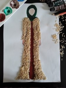 Gown illustration sketch using rice
