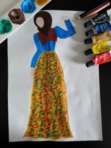 Hijab Fashion sketch of skirt dress yellow and blue color