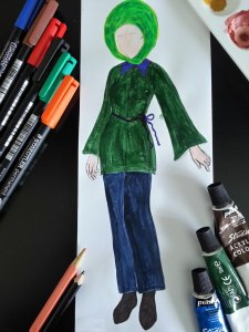 Fashion Sketch of short shirt dress with baggy trousers