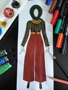 Hijab Fashion Sketch of modest outfit -Brown trousers and blsck and yellow striped shirt shirt