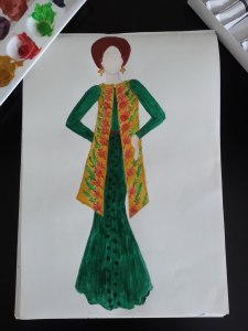 Fashion Sketch 4 - Green dress with yellow over coat