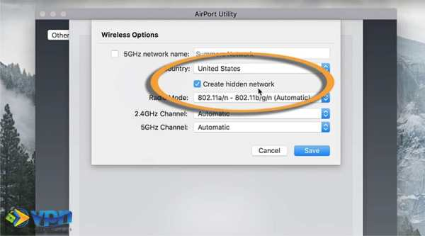 Create a hidden network on Apple Airport
