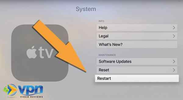 Click to restart your Apple TV
