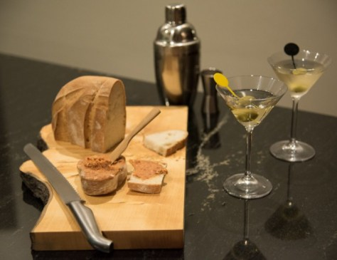 Salami spread & martinis