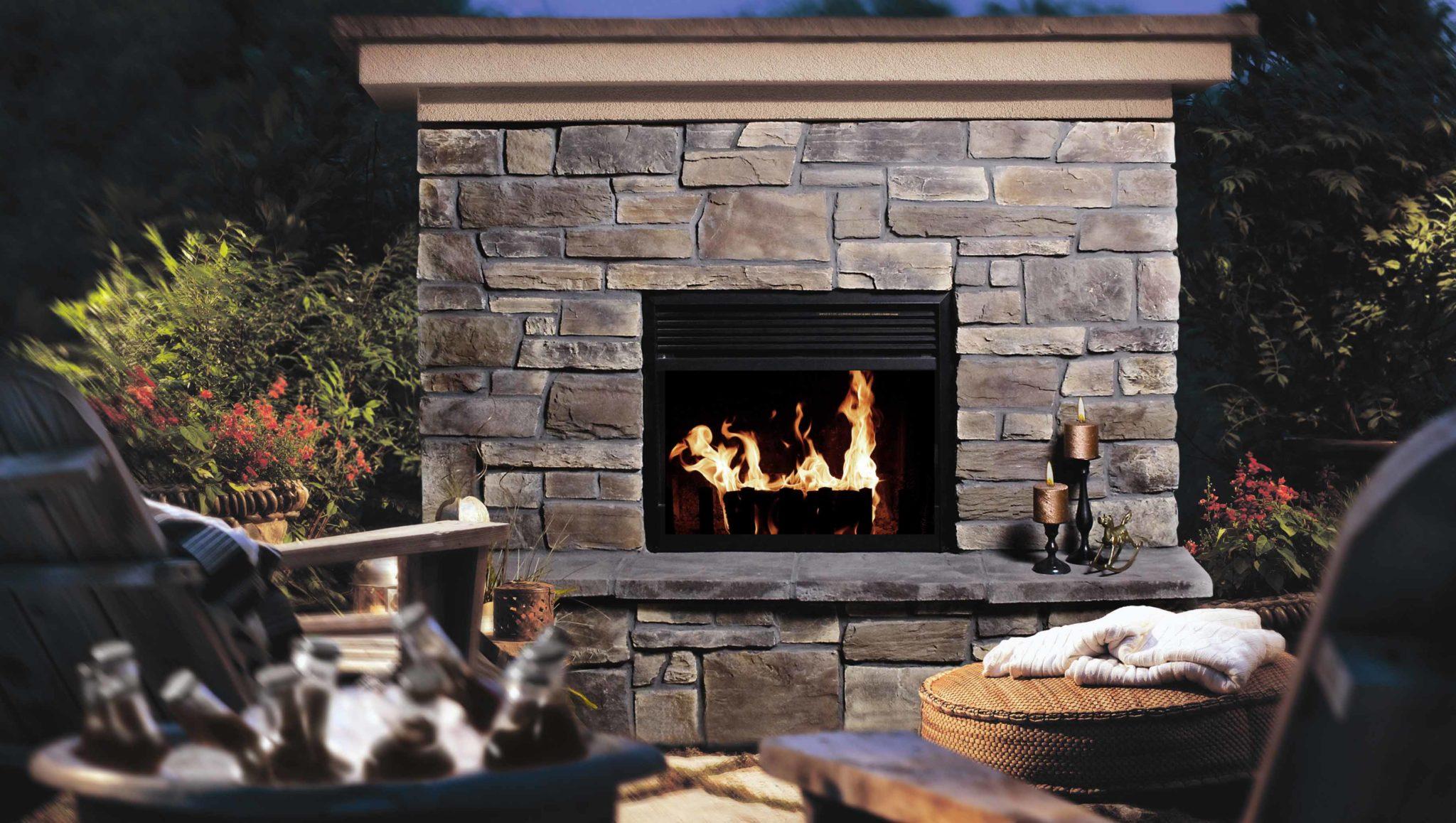 Fireplace Ledgestone Black Rundle