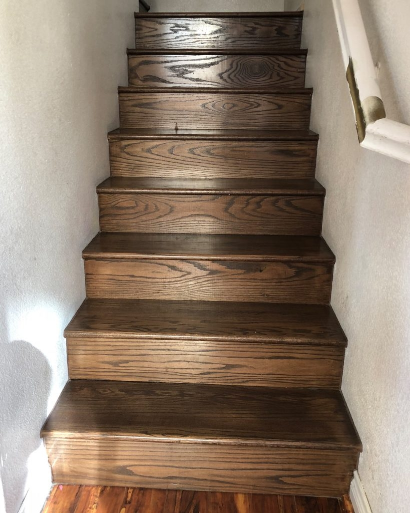 How To Update Wood Stairs With Chalk Paint All Things Thrifty | Distressed Wood Stair Treads | Oak Stair | Bullnose Manufacturing | Straight Edge Wood | White Oak | Heavy Timber Stair