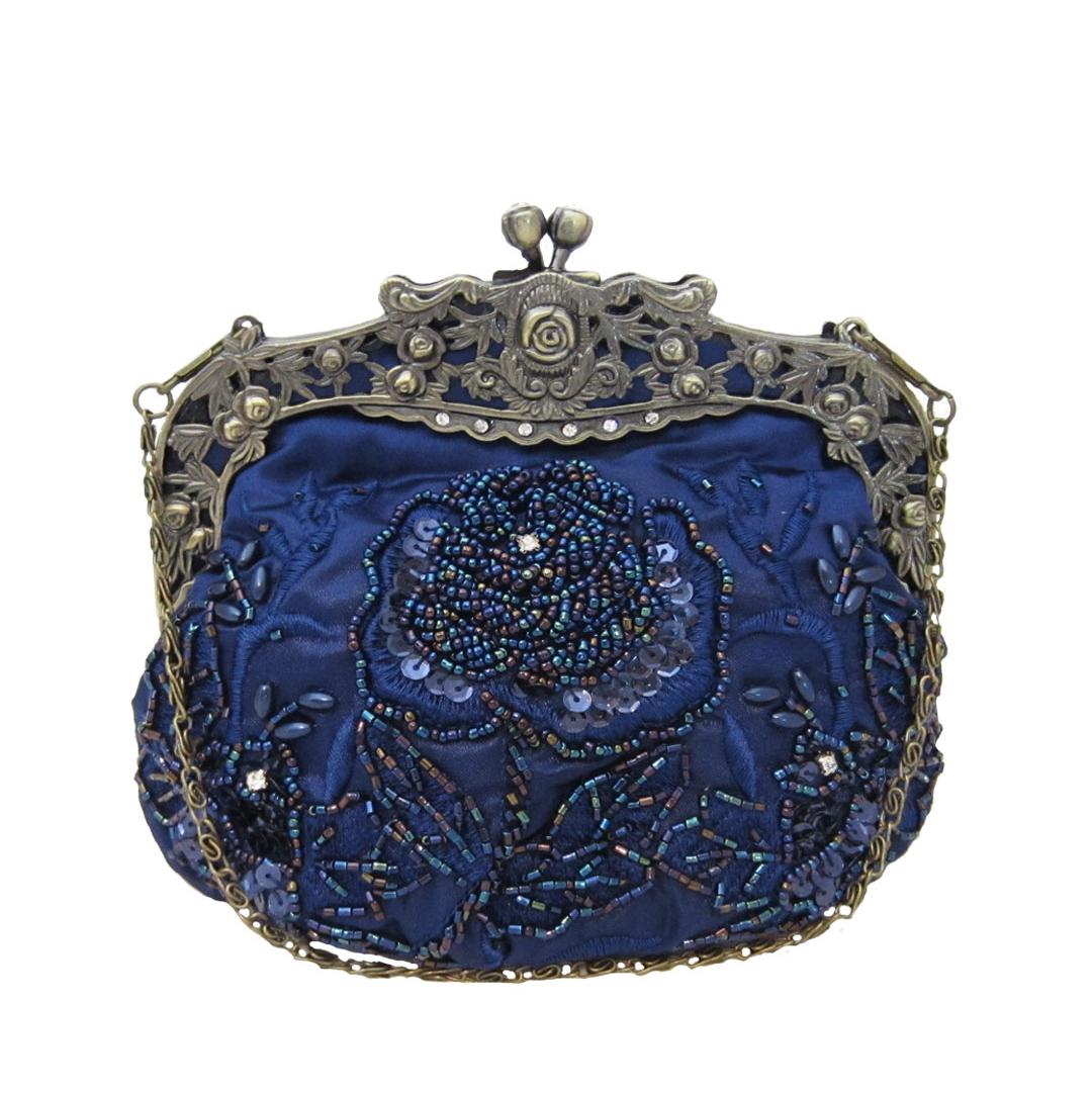 Vintage Style Beaded Handbag Navy Blue