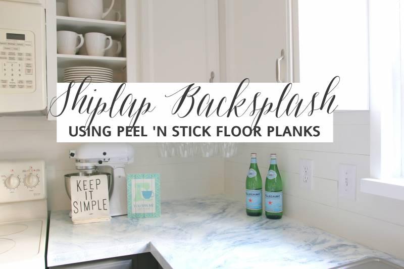 faux shiplap backsplash with peel n